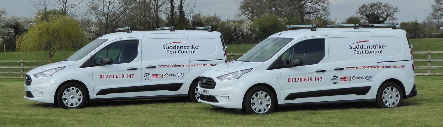 Suddenstrike Pest Control Cheshire | Domestic, Commercial, Agricultural | Pest control vans
